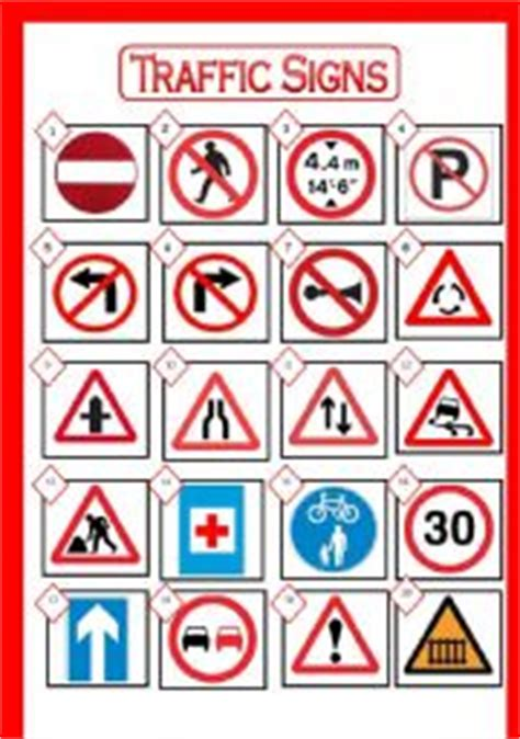 printable road signs and meanings traffic signs picture dictionary match the signs with