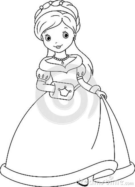 easy princess coloring pages princess coloring page stock vector image 42206765
