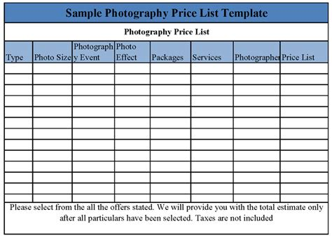 photography price list template photography price list template quotes