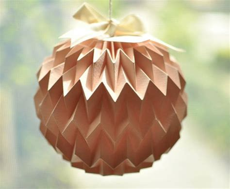 Origami Paper Lantern - hanging decorative folded paper mini pink by