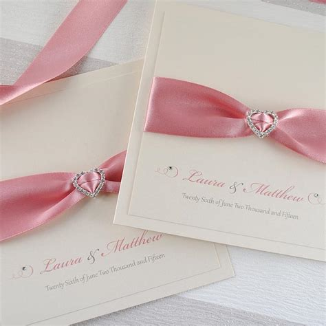 Handmade Invitations Uk - luxury handmade wedding invitation with satin bow