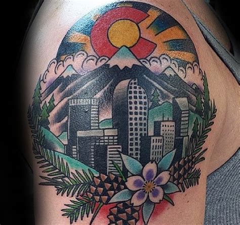 denver skyline tattoo 20 denver skyline designs for colorado ink ideas