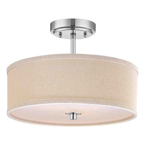Drum Lighting For Ceilings Chrome Drum Ceiling Light With Linen Shade 14 Inches Wide Ebay