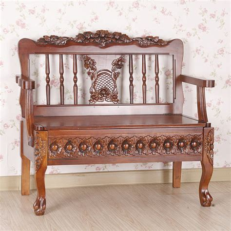 wood carved bench carved wood bench with under seat storage contemporary