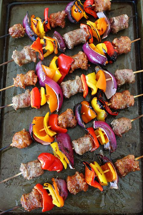 summer on a stick welcome grilling season with these 18 sausage and pepper skewers recipe sausage kebabs two
