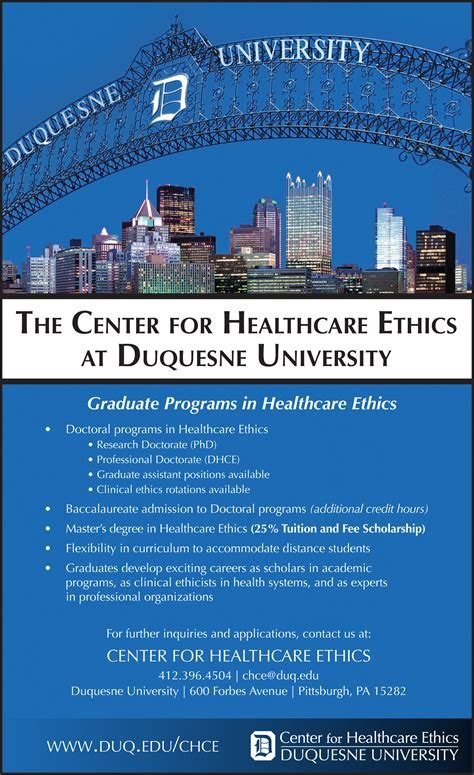 Duquesne Mba Tuition by Graduate Academic Programs In Healthcare Ethics Duquesne