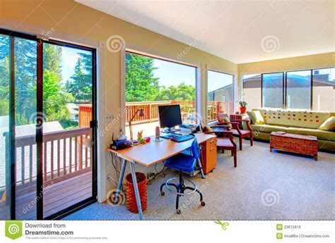 room and home home office and living room house interior with balcony