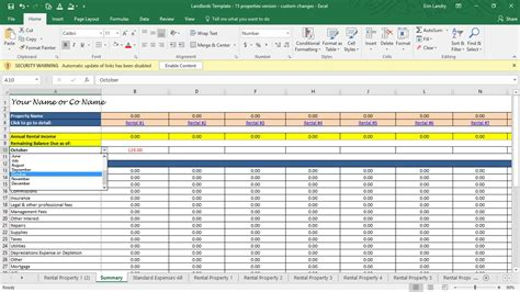 rent calculator landlord template rental property profit