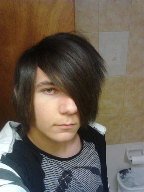 hairstyle covering one eye scene emo hair for guys by lmdaboss on deviantart
