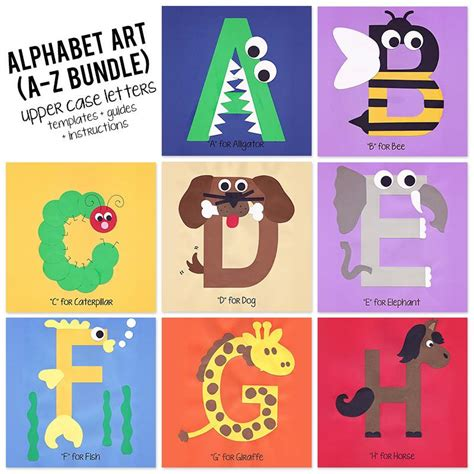 A To Z Alphabet Art Template Upper Case Letters Bundle Who Arted Abc Book Project Template
