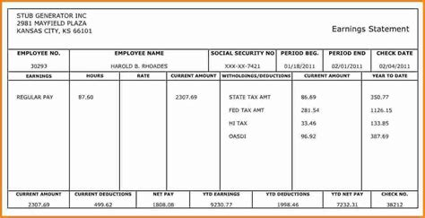 10 Pay Stub Template For 1099 Employee Simple Salary Slip Quickbooks Paycheck Stub Template