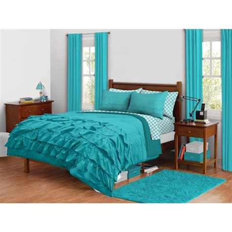 latitude ruffled bedding comforter set turquoise