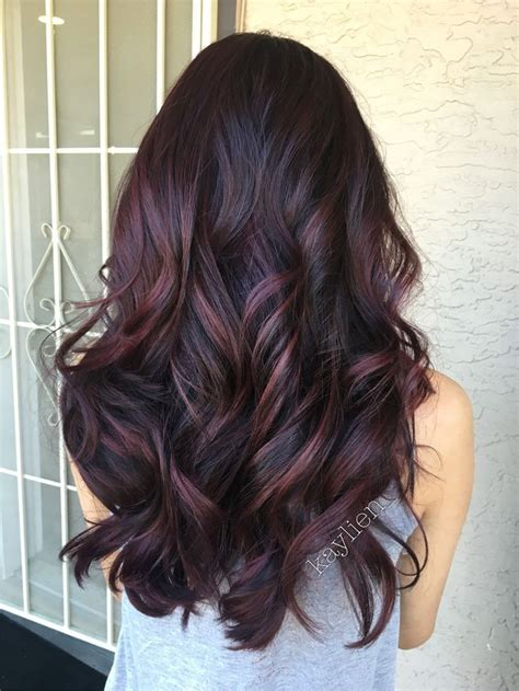 color highlights for ash base plum hair deep violet base and mahogany violet toned