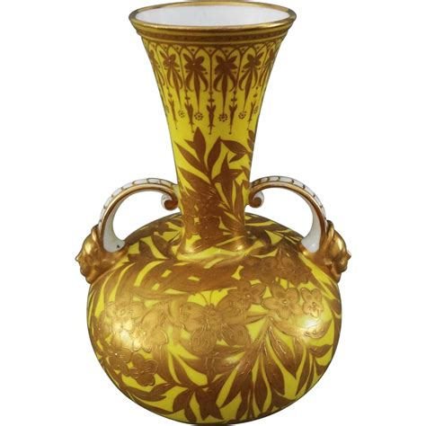 Royal Crown Derby Vases by Royal Crown Derby Large Yellow Raised Gilt Handled Vase