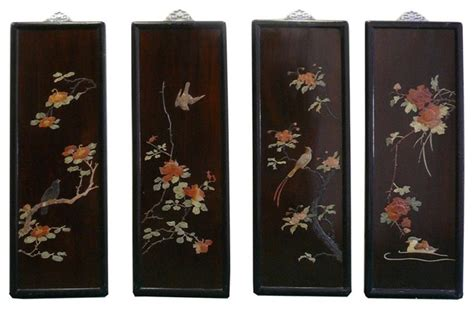 Japanese Wall Decor by Color Inlay Flower Bird Scenery Wall Panel