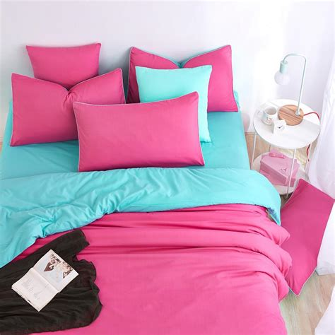 double color element light rose blue spring summer bedding sets bed sheet duver cover quilt