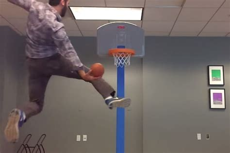 Office Basketball Hoop Turns Office Into Dunk Show After Getting Laid