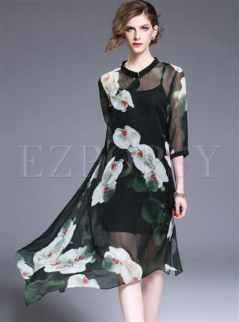 high end collars high end asymmetric stand collar print shift dress with slip ezpopsy