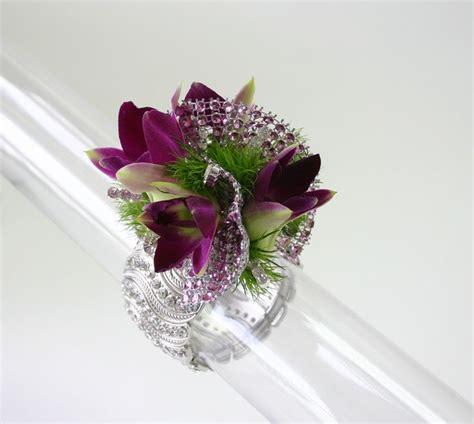 fitz design flower jewelry rhinestone wow bracelet with purple river of diamonds