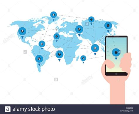 world mobile phone mobile phone in a world map global business