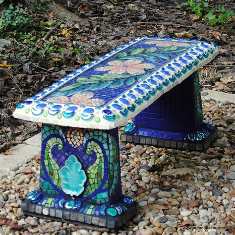 Mosaic Garden Bench I Can Do That With My Plain Grey Mosaic Garden Ideas