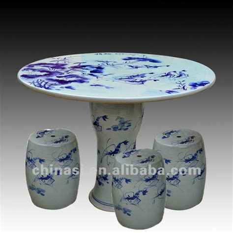 A Small Vintage Table L Blue White Ceramic Antique Style Ebay Antique Blue And White Ceramic Garden Stool Table Set