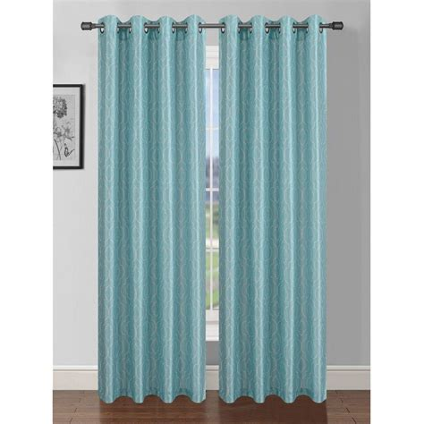aqua and grey curtains window elements semi opaque suzani flocked faux silk 84 in