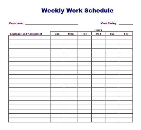 4 Work Schedule Templates Word Excel Templates 4 Week Work Schedule Template