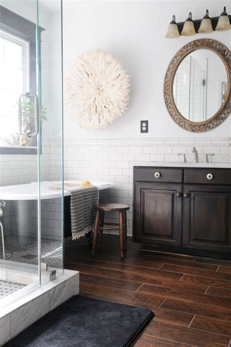 dark wood tile bathroom final master bathroom pics creativehomebody