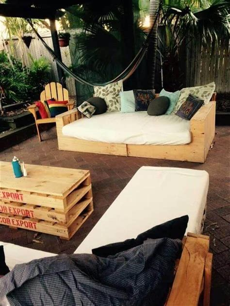 pallet patio l shape sofa and coffee table