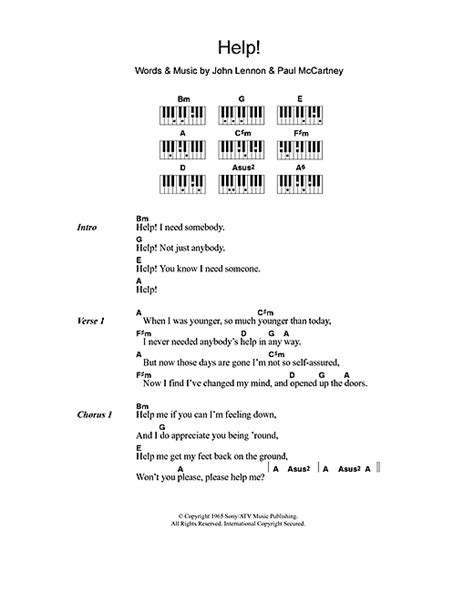 my lyrics with piano chords help sheet by the beatles lyrics piano chords