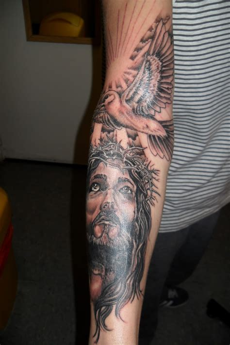 jesus sleeve tattoo religious sleeve tattoos design ideas for and