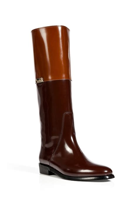 burberry boxcalf camberley boots in bright toffee in brown