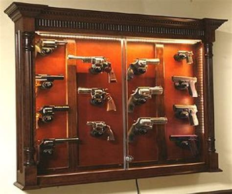 in wall gun cabinet canada pistol display case