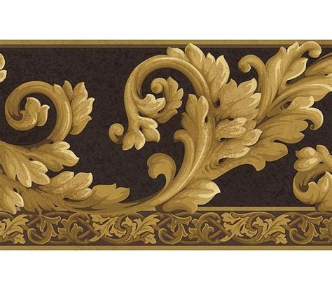 gold wallpaper trim wallpaper borders acanthus wave black gold wallpaper