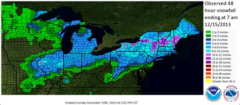 us weather map for december snowfall event of december 13th 14th 2013