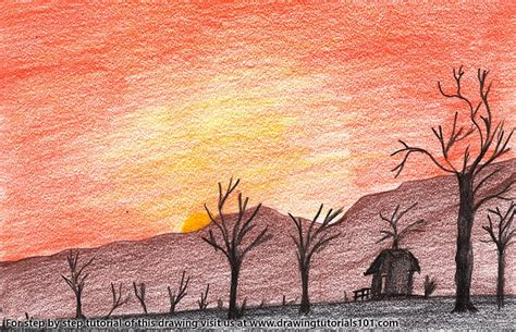 how to draw a sunset with colored pencils sunset in desert colored pencils drawing sunset in