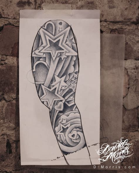 tattoo illustration and design journal star sleeve