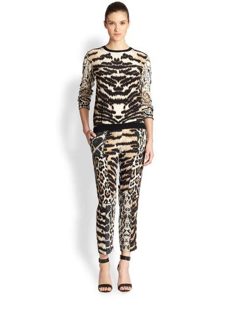 Roberto Cavalli Zebra Print Dome by Roberto Cavalli Animal Print Patchwork Silk In
