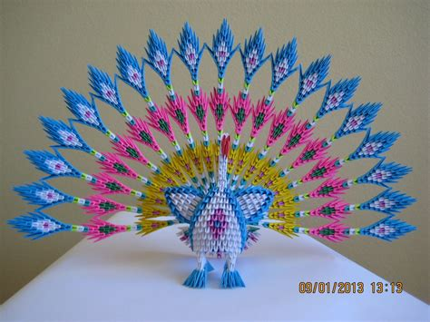 How To Make A 3d Peacock Out Of Paper - 3d origami peacock with 19 tails 1578 pieces version 2