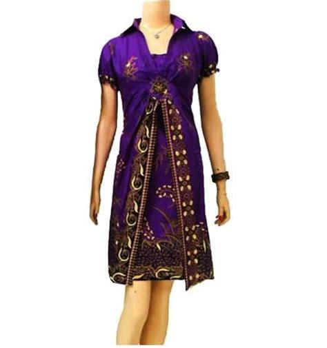 Dress Batik Wanita Ungu pin by baju batik on dress batik wanita modern