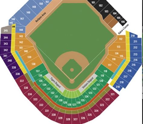 comerica park seating sections comerica park seating chart detroit tigers pinterest