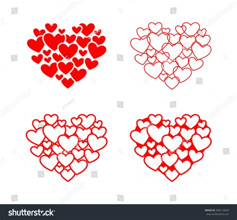 set isolated vector hearts stock vector 368114453