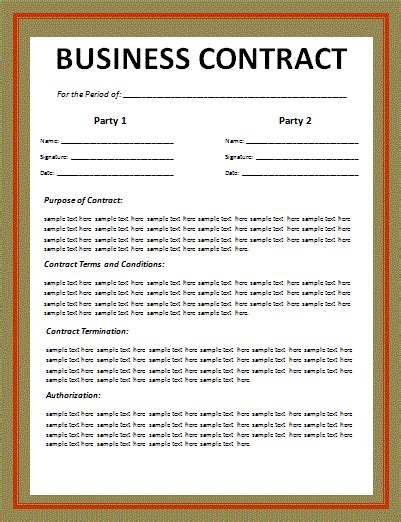business agreement template business contract layout free word templates