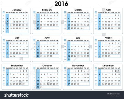 Calendar Week Numbers Calendar 2016 12 Months Indicating Number Stock