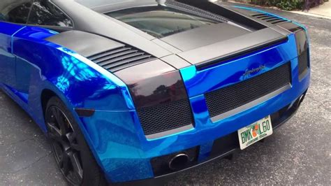 blue chrome lamborghini 2005 avery blue chrome lamborghini gallardo youtube