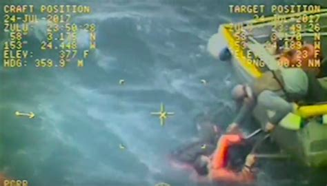 alaska fishing boat captain saves crewmen captain of capsized alaska fishing boat jumps in water to