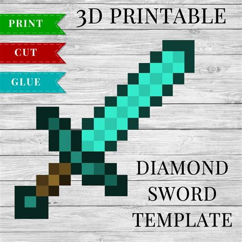 diamond sword printable minecraft diamond sword 3d template
