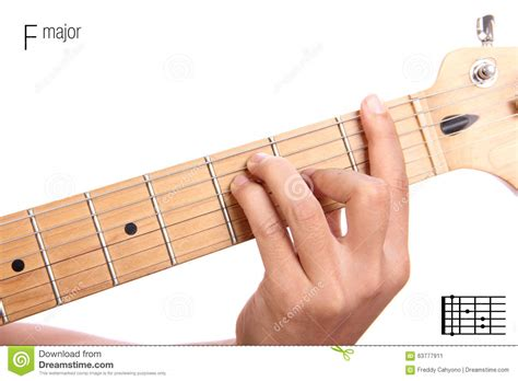 tutorial guitar up f major guitar chord tutorial stock photo image 63777911