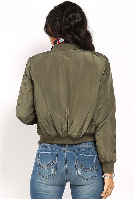 Jaket Bomber Pocket Zipper Bgsr padded zip pocket bomber jacket shop sale at papaya clothing